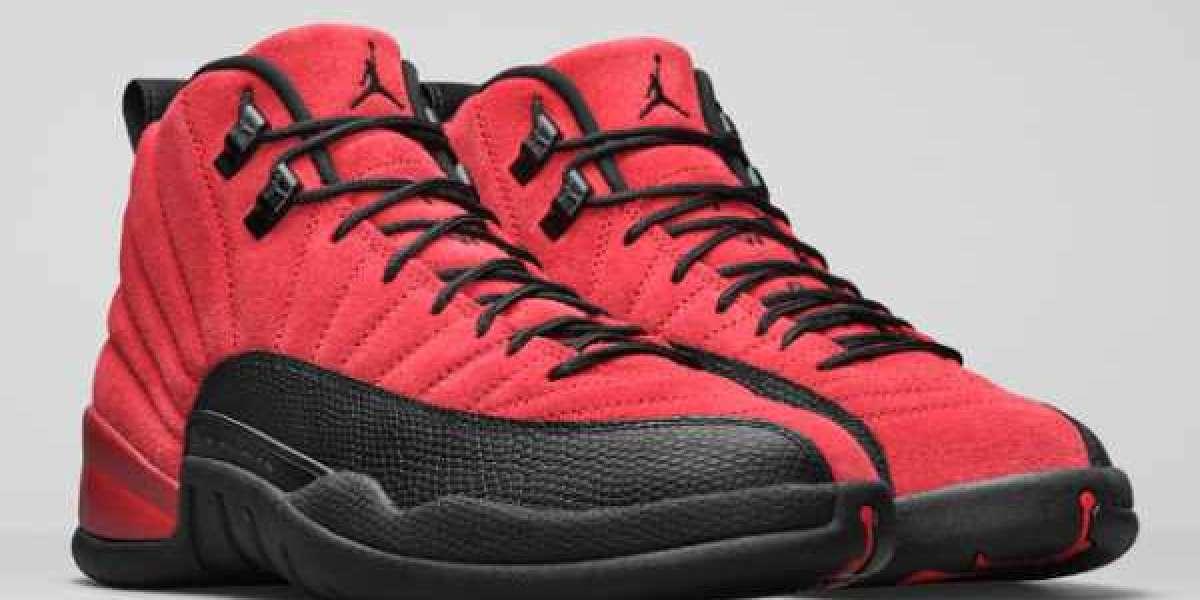 "CT8013-602 Air Jordan 12 ""Reverse Flu Game"" Red Suede Shoes"