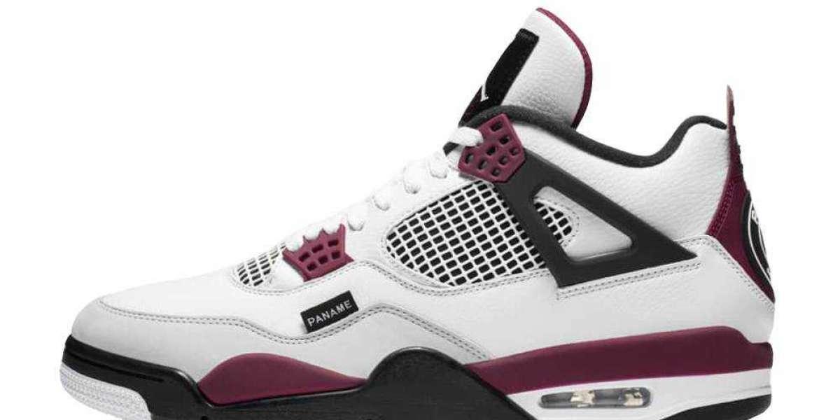 Online Sale PSG x Air Jordan 4 White Neutral Grey Bordeaux Shoes