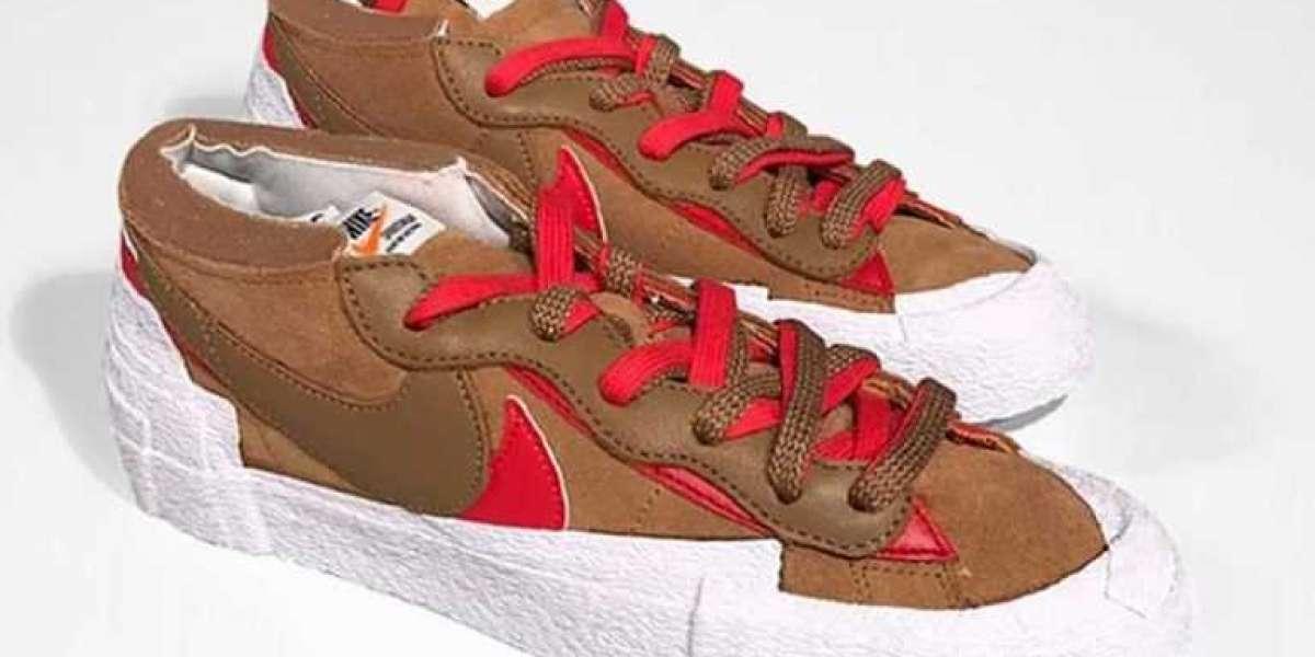 "DD1877-200 sacai x Nike Blazer Low ""British Tan"" released on July 31"